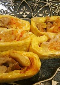 キムチと豚肉チーズのミルフィーユ玉子焼き