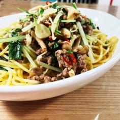 水菜ときのことひき肉のペペロンチーノ