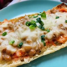 油揚げピザ☆納豆キムチーズ