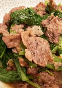 牛肉切り落としと小松菜のオイスター炒め