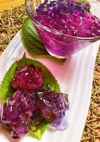 紫キャベツで彩り鮮やかな紫陽花の和菓子
