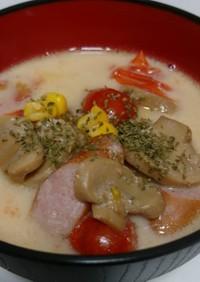 簡単!ミニトマトとウインナーの豆乳スープ