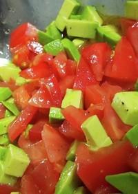 野菜が消えた。アボカドとトマトの出汁ドレ