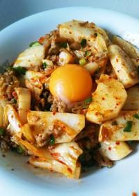 簡単スタミナ☆長芋と豚挽肉のキムチ炒め
