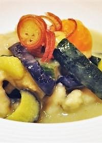 鱧と夏野菜の揚げ浸し 西京白みそ風味