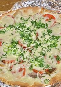 焼き塩サバとトマトのマヨネーズ風味ピザ