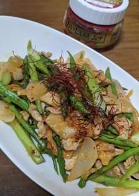 旬菜 アスパラと新玉ねぎ豚キムチ炒め