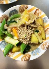 根菜自家製ごまだれで棒棒鶏味温野菜サラダ
