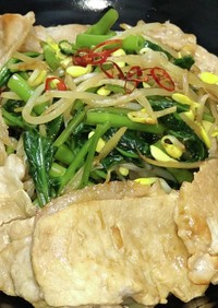 空芯菜と豆もやし炒め 豚しゃぶ添え