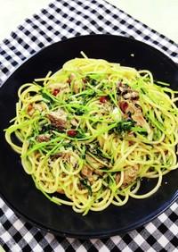 鯖水煮缶と豆苗のペペロンチーノ