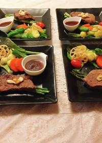 お夕食♡牛肉ランプステーキ♡
