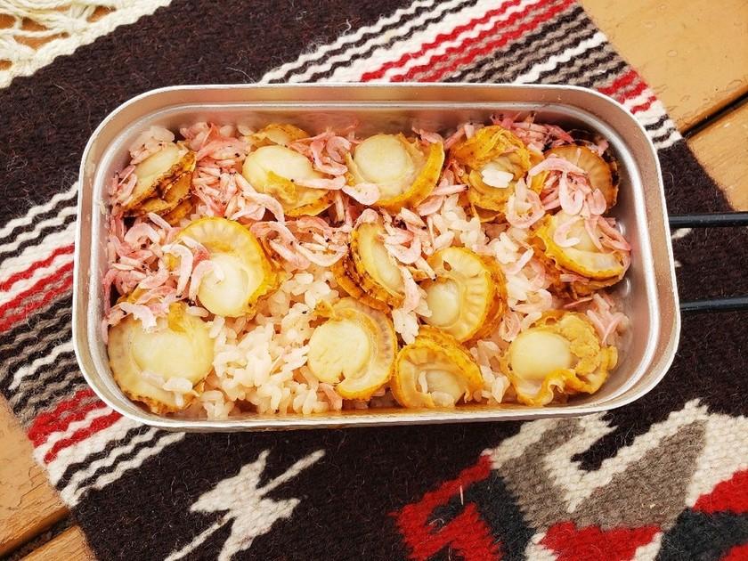 キャンプメシ*ホタテの炊き込みご飯
