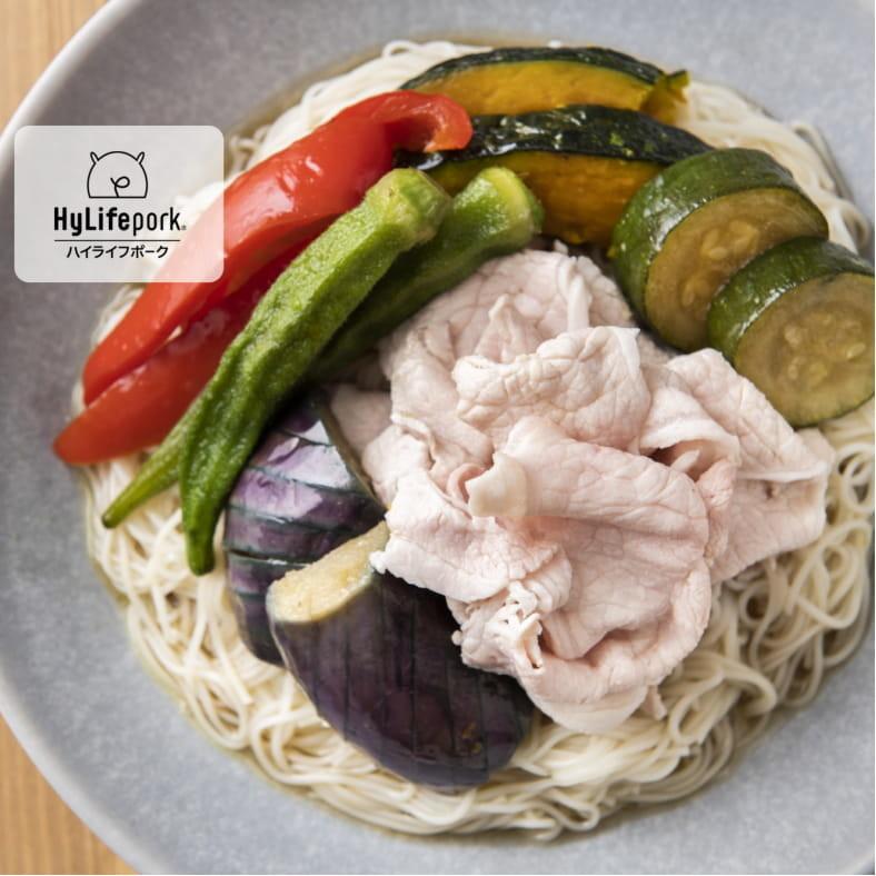 豚しゃぶと夏野菜の揚げびたし のっけ素麵