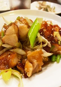 鶏肉とネギのポン酢炒め