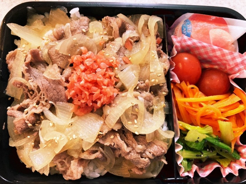 牛丼とナムル高校生男子弁当蒟蒻ゼリー付