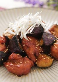 茄子と鶏唐揚げのピリッと辛味炒め♪