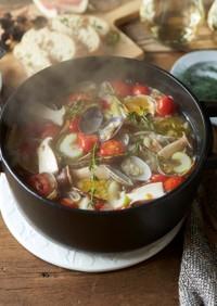アサリとトマトの白ワインスープ鍋