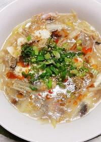 レンチンで簡単 きのこと豆腐のスープ