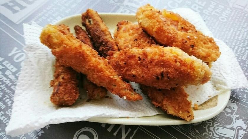 魚肉ソーセージとおくらのフライ