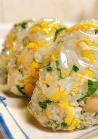 ホタテと錦糸卵のごちそうおむすび