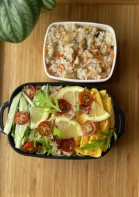 本日のお弁当:冷やし中華と炊き込みご飯