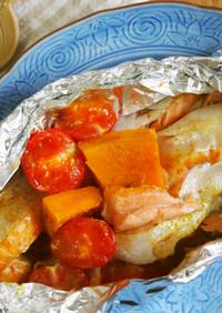 鮭のホイル焼き♪カレー粉風味で♪