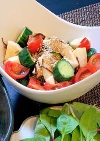 トマトと山芋の塩昆布サラダ