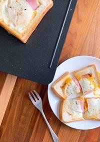 とろとろ卵が美味しいハムエッグトースト