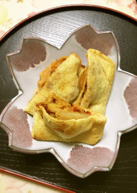 キムチ納豆の油揚げ袋焼き