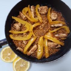 鶏肉と野菜出汁のパエリア(魚介類なし)