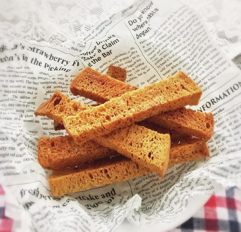 サクサク♪甘くない低糖質ふすまパンラスク
