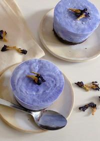 涼しい青色!ヨーグルトアイスケーキ