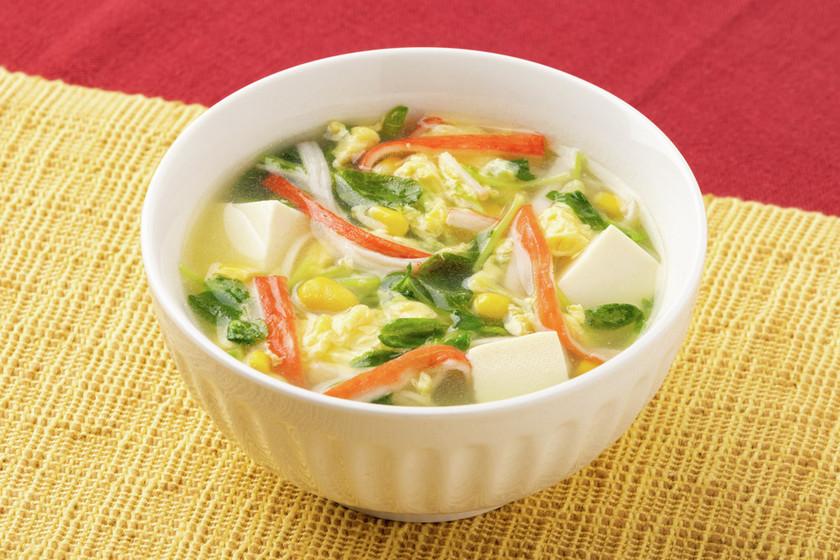 豆腐と豆苗の彩り中華スープ