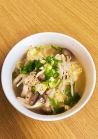 腸活やダイエットに!きのこと卵のスープ