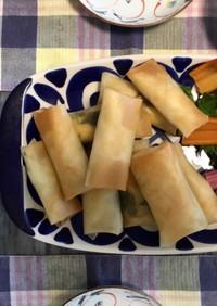 ささみ、大葉、チーズの簡単揚げ焼き春巻き