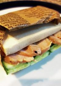〈低糖質〉チキンサラダの高野豆腐サンド