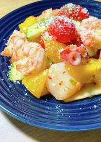 トマトキムチソースで韓国風海鮮マリネ♪