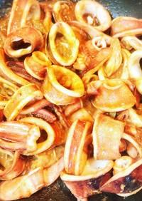 簡単イカミョウガのいかワタ生姜甘味噌炒め