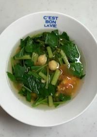 モロヘイヤとひよこ豆のスープ