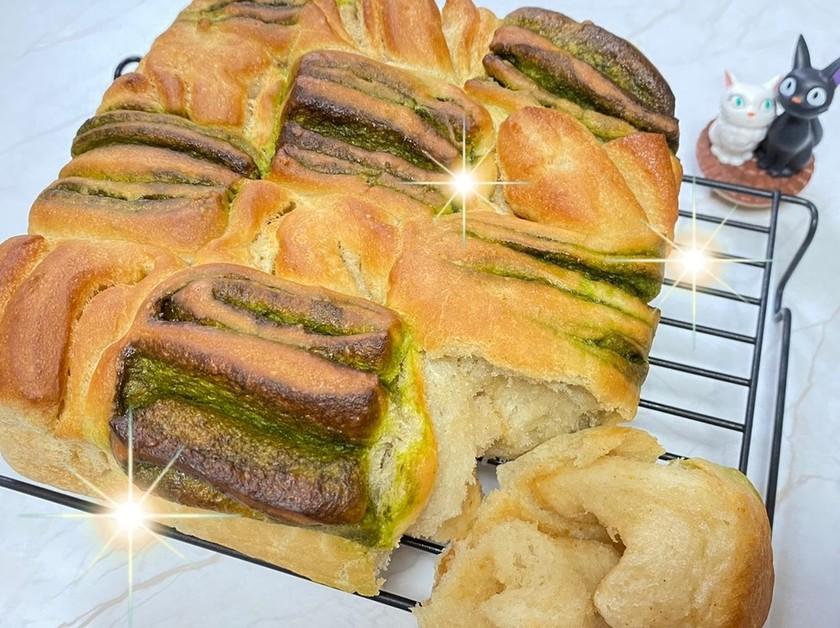 黒糖パン(きな粉・抹茶)簡単パン作り♪