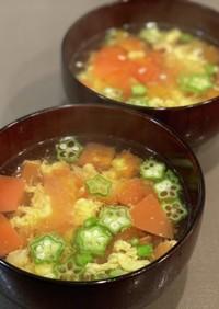 トマトとオクラと卵の中華スープ#12