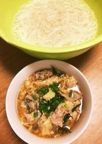 かき玉と豚バラねぎの素麺