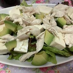 アボカド豆腐レタスささみダイエットサラダ