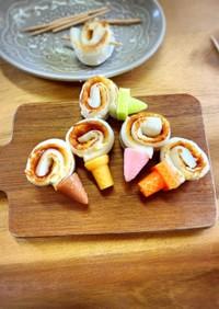 可愛いおかず竹輪のクルクルアイス