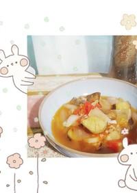 マクロビ☆揚げなすのトマトスープ