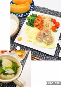 中華の日の献立・焼売・餃子スープ・ナムル