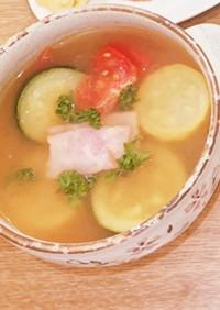 簡単!ズッキーニとベーコンのトマトスープ