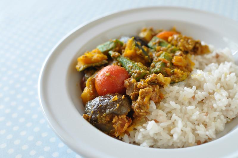 夏野菜のキーマカレー