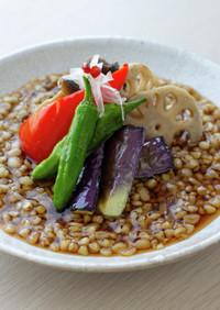 【卯月製麺】素揚げ野菜とそばの実揚げ出し