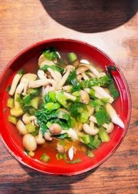 しめじと大根菜の減塩醤油スープ